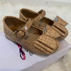 Pipperdoodles toddlers cork look bow shoes size 9